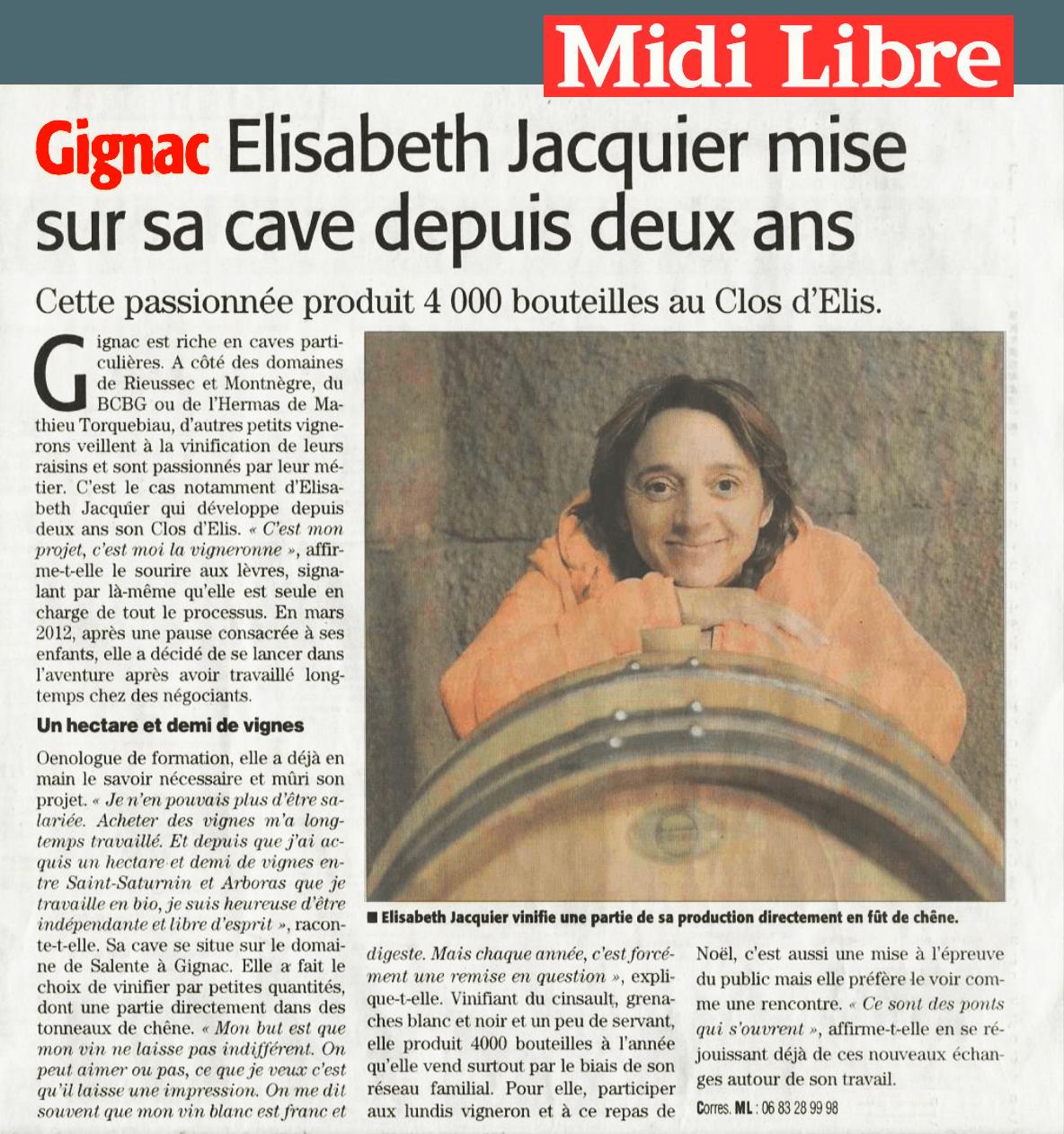 Les Clos d'Elis - Midi Libre 11 décembre 2014